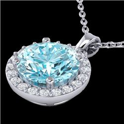 2 CTW Sky Topaz & Halo VS/SI Diamond Micro Pave Necklace 18K White Gold - REF-41N3Y - 21555