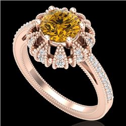 1.65 CTW Intense Fancy Yellow Diamond Engagement Art Deco Ring 18K Rose Gold - REF-230X9T - 37729