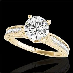 1.5 CTW H-SI/I Certified Diamond Solitaire Antique Ring 10K Yellow Gold - REF-221R8K - 34731