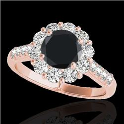 2 CTW Certified Vs Black Diamond Solitaire Halo Ring 10K Rose Gold - REF-98X9T - 33422