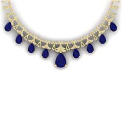 56.94 CTW Royalty Sapphire & VS Diamond Necklace 18K Yellow Gold - REF-1072W8H - 38708