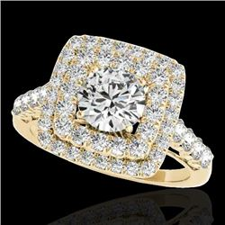 2.05 CTW H-SI/I Certified Diamond Solitaire Halo Ring 10K Yellow Gold - REF-225F5M - 34587