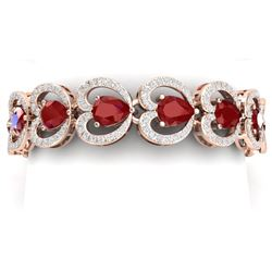 32.15 CTW Royalty Ruby & VS Diamond Bracelet 18K Rose Gold - REF-690X9T - 38689