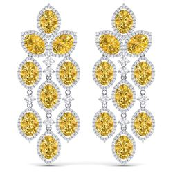 27.95 CTW Royalty Canary Citrine & VS Diamond Earrings 18K White Gold - REF-445W5H - 38937