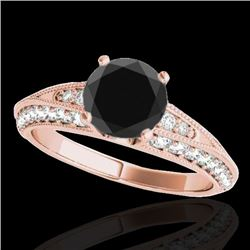 1.58 CTW Certified Vs Black Diamond Solitaire Antique Ring 10K Rose Gold - REF-79R3K - 34625