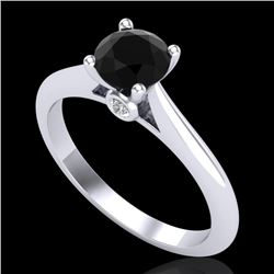 0.83 CTW Fancy Black Diamond Solitaire Engagement Art Deco Ring 18K White Gold - REF-69Y3N - 38192
