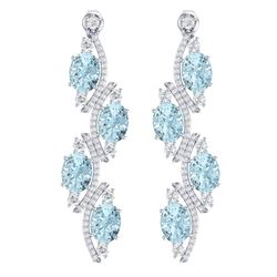 15.72 CTW Royalty Sky Topaz & VS Diamond Earrings 18K White Gold - REF-240M9F - 38988