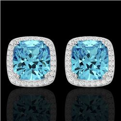 6.50 CTW Sky Blue Topaz & Micro VS/SI Diamond Halo Earrings 18K White Gold - REF-75T6X - 22812