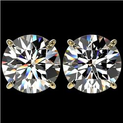 5 CTW Certified H-SI/I Quality Diamond Solitaire Stud Earrings 10K Yellow Gold - REF-1663K3R - 33144