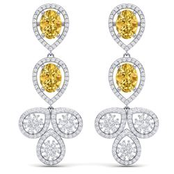 8.15 CTW Royalty Canary Citrine & VS Diamond Earrings 18K White Gold - REF-272W8H - 39093
