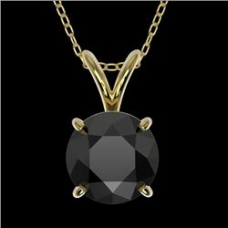1.25 CTW Fancy Black VS Diamond Solitaire Necklace 10K Yellow Gold - REF-35H8W - 33206