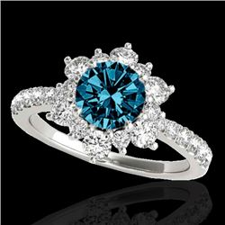 2 CTW SI Certified Blue Diamond Solitaire Halo Ring 10K White Gold - REF-200R2K - 33711