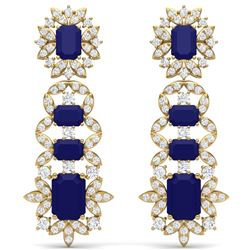 30.25 CTW Royalty Sapphire & VS Diamond Earrings 18K Yellow Gold - REF-581F8M - 39413