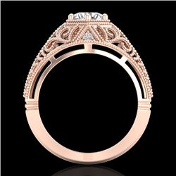 1.07 CTW VS/SI Diamond Solitaire Art Deco Ring 18K Rose Gold - REF-345H2W - 36918
