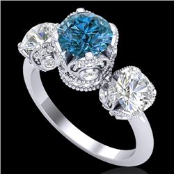 3 CTW Fancy Intense Blue Diamond Solitaire Art Deco 3 Stone Ring 18K White Gold - REF-418R2K - 37432