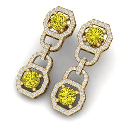 4 CTW Si/I Fancy Yellow And White Diamond Earrings 18K Yellow Gold - REF-300Y2N - 40138