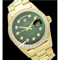 Rolex Men's 18K Yellow President, QuickSet, Diamond Dial & Diamond Bezel - REF-1232M7H