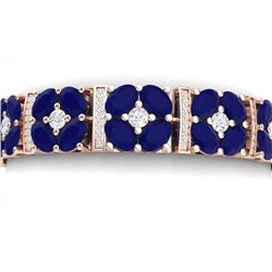 39.78 CTW Royalty Sapphire & VS Diamond Bracelet 18K Rose Gold - REF-636X4T - 39019