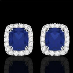2.50 CTW Sapphire & Micro Pave VS/SI Diamond Certified Halo Earrings 10K White Gold - REF-49Y3N - 22