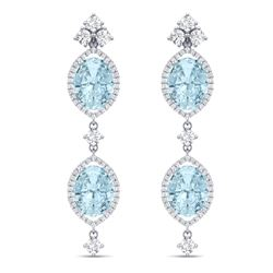 16.41 CTW Royalty Sky Topaz & VS Diamond Earrings 18K White Gold - REF-254M5F - 38916