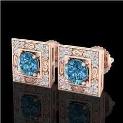 1.63 CTW Fancy Intense Blue Diamond Art Deco Stud Earrings 18K Rose Gold - REF-176M4F - 38161