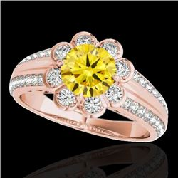 2.05 CTW Certified Si Fancy Intense Yellow Diamond Solitaire Halo Ring 10K Rose Gold - REF-318W2H -