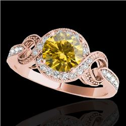 1.33 CTW Certified Si Fancy Intense Yellow Diamond Solitaire Halo Ring 10K Rose Gold - REF-176T4X -