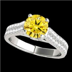 1.61 CTW Certified Si Fancy Intense Yellow Diamond Pave Ring Two Tone 10K White Gold - REF-180X2T -