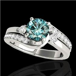 1.75 CTW SI Certified Fancy Blue Diamond Bypass Solitaire Ring 10K White Gold - REF-218Y2N - 35099
