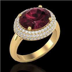 4.50 CTW Garnet & Micro Pave VS/SI Diamond Certified Ring 18K Yellow Gold - REF-98Y4N - 20917