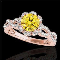 1.69 CTW Certified Si Fancy Intense Yellow Diamond Solitaire Halo Ring 10K Rose Gold - REF-188T2X -