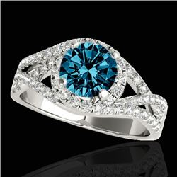 2 CTW SI Certified Fancy Blue Diamond Solitaire Halo Ring Two Tone 10K White Gold - REF-263W6H - 338