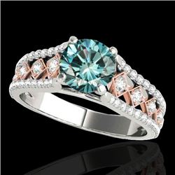 1.45 CTW SI Certified Blue Diamond Solitaire Ring Two Tone 10K White & Rose Gold - REF-174W5H - 3528