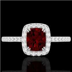 1.25 CTW Garnet & Micro Pave VS/SI Diamond Certified Halo Ring 10K White Gold - REF-33K3R - 22903