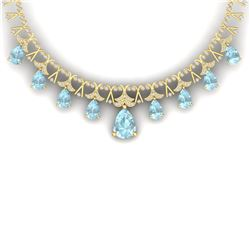 60.62 CTW Royalty Sky Topaz & VS Diamond Necklace 18K Yellow Gold - REF-945N5Y - 38711