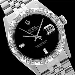 Rolex Men's Stainless Steel, QuickSet, Diam Dial with Pyrimid Diam Bezel  - REF-441M8H