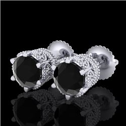 2.04 CTW Fancy Black Diamond Solitaire Art Deco Stud Earrings 18K White Gold - REF-89X3T - 38094