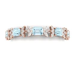 39.65 CTW Royalty Sky Topaz & VS Diamond Bracelet 18K Rose Gold - REF-356T4X - 39400