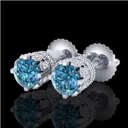 1.75 CTW Fancy Intense Blue Diamond Art Deco Stud Earrings 18K White Gold - REF-172H8W - 37355
