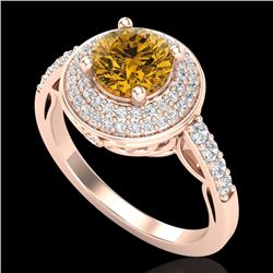 1.7 CTW Intense Fancy Yellow Diamond Engagement Art Deco Ring 18K Rose Gold - REF-254T5X - 38128