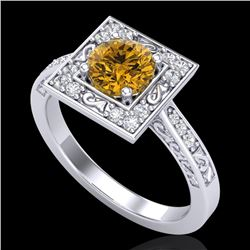 1.1 CTW Intense Fancy Yellow Diamond Engagement Art Deco Ring 18K White Gold - REF-140H9W - 38155