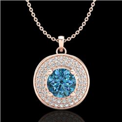 1.25 CTW Fancy Intense Blue Diamond Solitaire Art Deco Necklace 18K Rose Gold - REF-161W8H - 38140