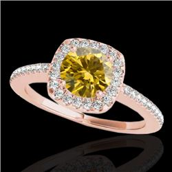 1.25 CTW Certified Si Fancy Intense Yellow Diamond Solitaire Halo Ring 10K Rose Gold - REF-161K8R -