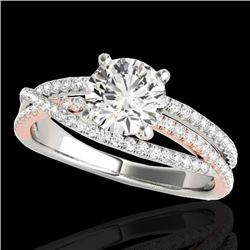 1.65 CTW H-SI/I Certified Diamond Solitaire Ring Two Tone 10K White & Rose Gold - REF-222W8H - 35547