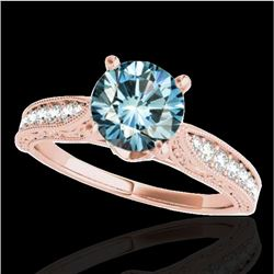1.5 CTW SI Certified Fancy Blue Diamond Solitaire Antique Ring 10K Rose Gold - REF-221Y8N - 34735
