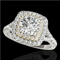 1.6 CTW H-SI/I Certified Diamond Solitaire Halo Ring Two Tone 10K White & Yellow Gold - REF-216K4R -