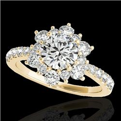 2 CTW H-SI/I Certified Diamond Solitaire Halo Ring 10K Yellow Gold - REF-200X2T - 33708