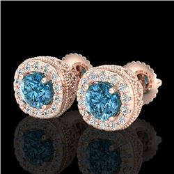 1.69 CTW Fancy Intense Blue Diamond Art Deco Stud Earrings 18K Rose Gold - REF-180M2F - 37993