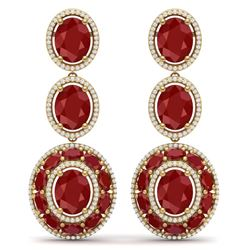 32.84 CTW Royalty Designer Ruby & VS Diamond Earrings 18K Yellow Gold - REF-490Y9N - 39260