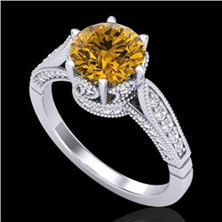 2.2 CTW Intense Fancy Yellow Diamond Engagement Art Deco Ring 18K White Gold - REF-336Y4N - 38092